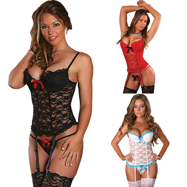 Sexy Babydoll Lace See Through Erotic Costumes For Women Sex Underwear Hot Sexy Erotic Lingerie Lace Sleepwear + Sexy Stockings D18120802