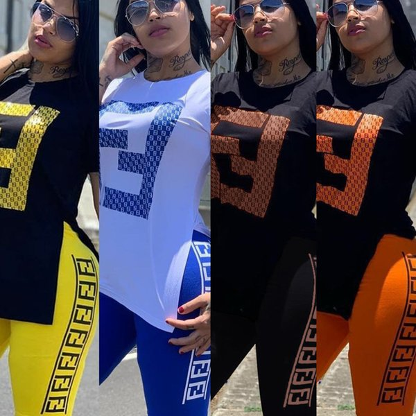 FF женщины спортивный костюм с коротким рукавом-рубашка Шорты из двух частей наряды Письмо печати соответствующие наборы летние беговые костюмы повседневная спортивная одежда 03