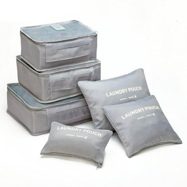 6pcs Set de haute qualité d'emballage Cubes Nylon Sacs de voyage Sac étanche Mesh Vêtements bagages unisexe Sorting Organisateur sac de rangement