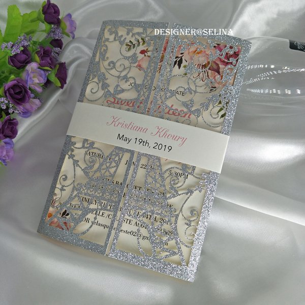 2019 Silver Glitter Laser Cut Invitations Cards with Cream Belt for Wedding Bridal Shower Quinceanera Invites Free Printing