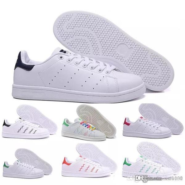 2018 zapatos stan de alta calidad a estrenar moda smith zapatillas casual cuero hombres mujeres deporte zapatillas deportivas zapatos planos clásicos
