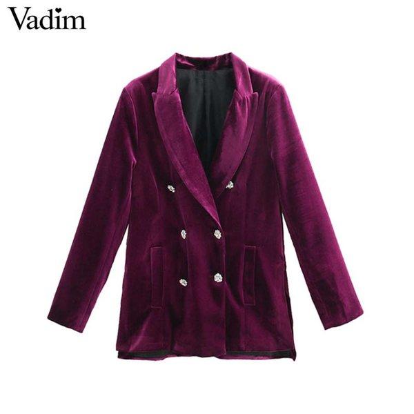 Vadim mujer chic púrpura terciopelo largo bolsillos de la chaqueta de doble botonadura abrigo de manga larga ropa de oficina ropa de abrigo informal tops CA303