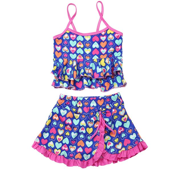 2019 Summer Girls Swimsuit Children Swimwear Kids Two Pieces Skirted Swimsuit Girls Bikini Beach Wear for 2-14 Years