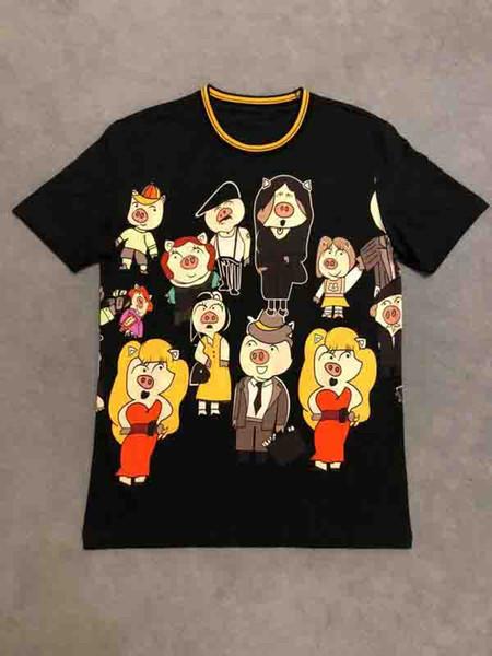 2019 mens designer tshirts carta de luxo Porco impressão do coração roupas de manga curta camisas das mulheres Dos Homens Das Mulheres Top quality tag Novo