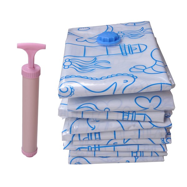Storage Vacuum Bags For Clothes Compressed Foldable Closet Organizer Wardrobe Travel Transparent Home Bag Space Manual Air