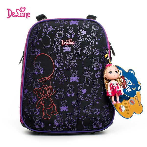 Delune 2019 fashion 3D cartoon children school bags for girls printing school backpack children Orthopedic Schoolbag design kids