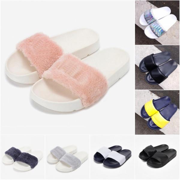 2019 Yeni Kürk Marka disruptor2 sandalet Terlik erkek kadın Kış Sandalet siyah beyaz Anti-kayma Açık Yumuşak sıcak Ayakkabı Plaj Sandalet 36-44