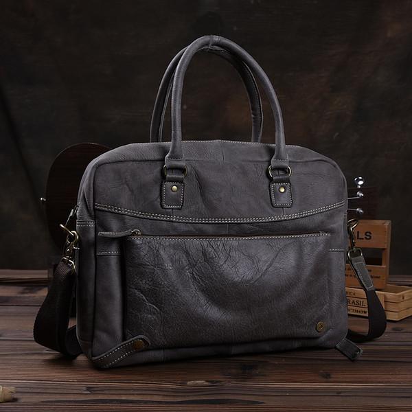 2019 Handmade Genuine Leather Men Handbag Designer Classic Vintage Shoulder Bag Male Large Travel Tote Laptop Computer Briefcase