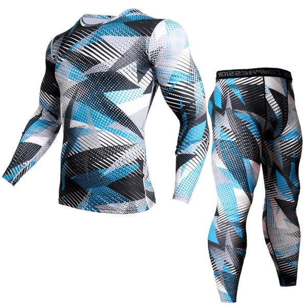 Winter Suit For Men 2 Piece Men Thermal Underwear Camouflage Tracksuit MMA Clothing Rashgard kit Bodybuilding T-Shirt XXXL