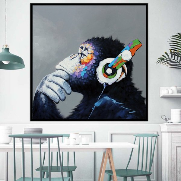 Handpainted & HD Print Abstract Colorful Orangutan Animal Art Oil Painting On Canvas Wall Art Home Deco High Quality A51