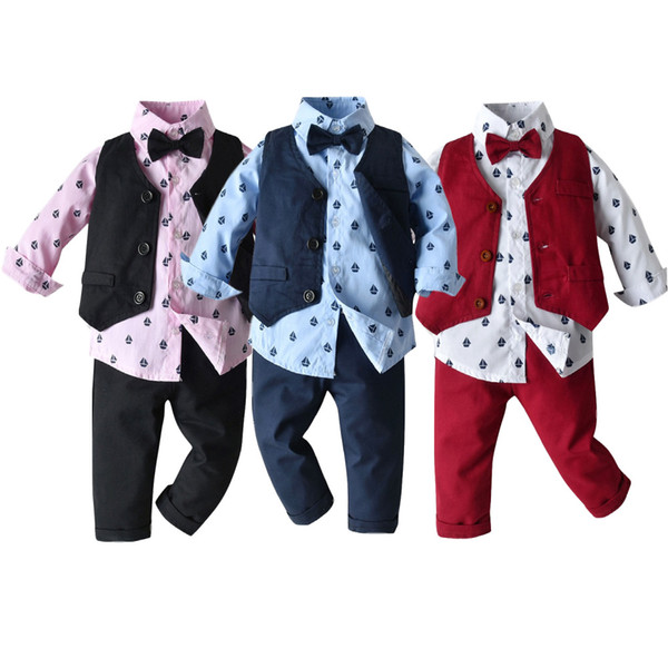 Sonbahar ve Yelek + Pantolon İngiliz Stili Centilmen Giyim Üç parçalı Suit + Kış Yeni Çocuk Giyim Boy Baskılı Uzun Kollu Gömlek