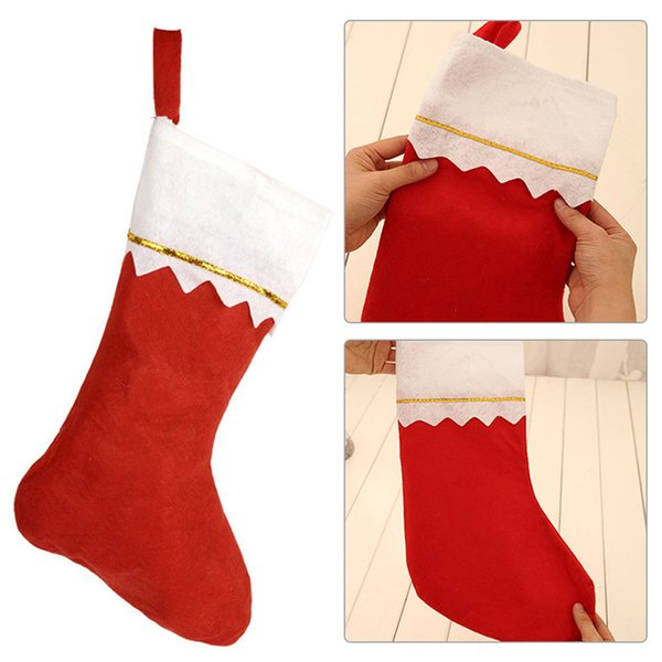 1pcs Christmas Home Hotel Decorations Mall Tree Pendant Ornaments Red Plush Non Woven Socks Gift Bag