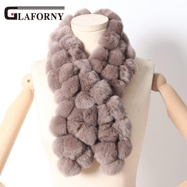 wholesale 2018 Women Genuine Fur Scarf Winter Real Rabbit fur Balls Scarves Russia Cute Female Fashion Warm Fur Scarf Pompoms