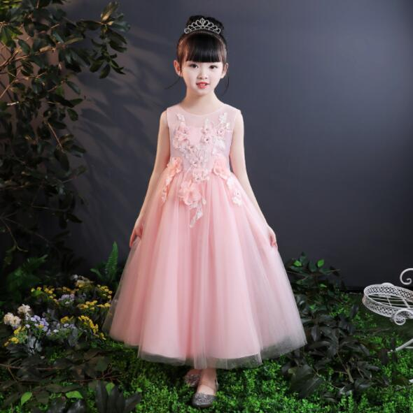 2019 New Girls Pink/White Wedding Dresses Long Style Appliques Lace Party Princess Birthday Dress First Communion Gown Flower Girl Gown