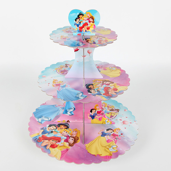 Princess 3 Tiers Paper Foldable Cupcake Stand Rack Kids Girls Birthday Party Cake Display Baby Shower Party Decoration