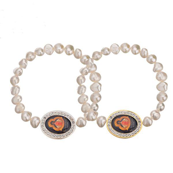 Irregular pearl elastic bracelet King glue stainless steel round bracelet jewelry for woman gift