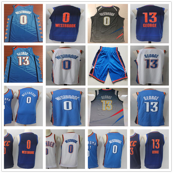reputable site 02d4c 7c0c5 2018 2019 New City Edition Turquoise Green 0 Russell Westbrook Jerseys Blue  Orange White 13 Paul George Jersey Stitched Shirts Sportswear From ...