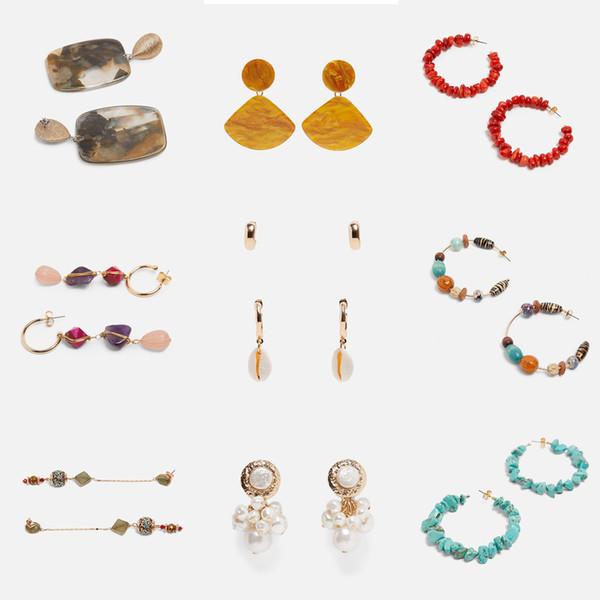 2019 New Resin Za Earrings For Women Multi Color Wedding Statement Jewelry Boho Dangle Drop Earrings Party Girls Gift