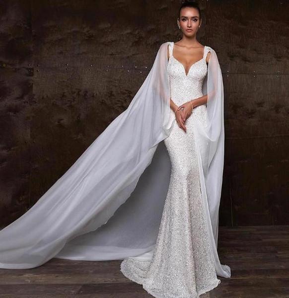 Элегантные блестящие свадебные платья с русалкой и пайетками и платками Сексуальная бусина с открытой спиной и скользящим шлейфом Пляжное богемное свадебное платье BC2235