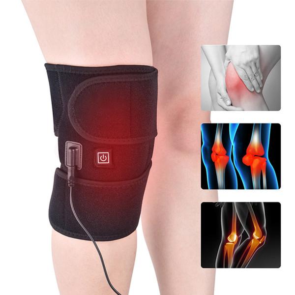 Regolabile Heated elettrico Pad Donne di inverno degli uomini di conservazione caldo di sostegno del ginocchio Wrap Warmer ginocchiera US / EU Plug