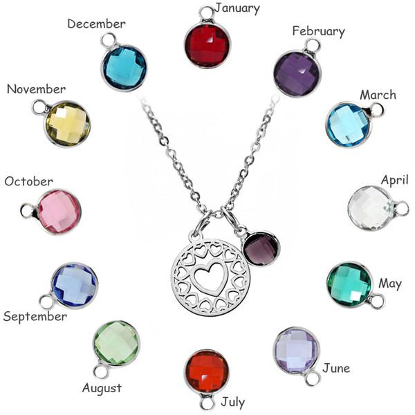 Vendita calda Love Heart Pendant Necklace Charm in acciaio inox colorato 12 Birthstone per le donne Gioielli in cristallo Festa della mamma Regali d'amore