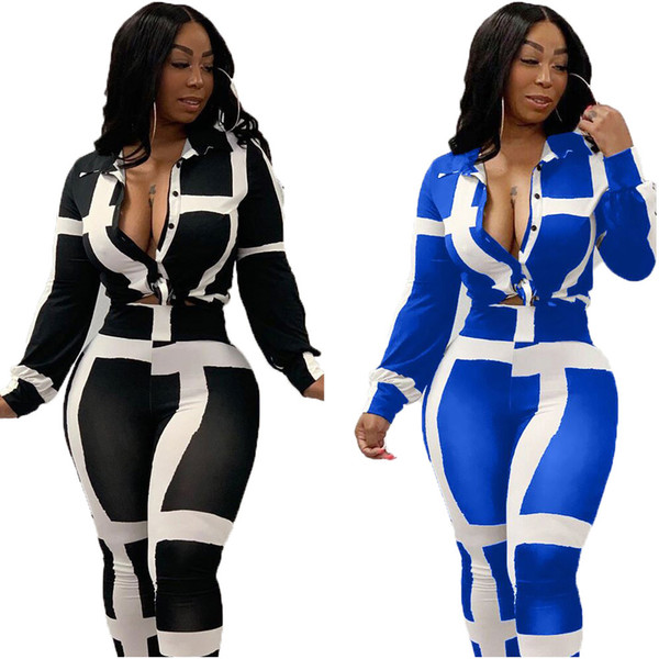 2019 Sexy casual outfits button lace up tracksuit women long sleeve top long pants striped print autumn two piece set