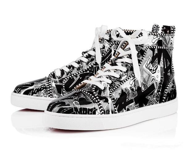 2019 Nouveau cuir à talons bas nouveau fond rouge chaussures Graffiti hommes \\ célèbre marque sneakers