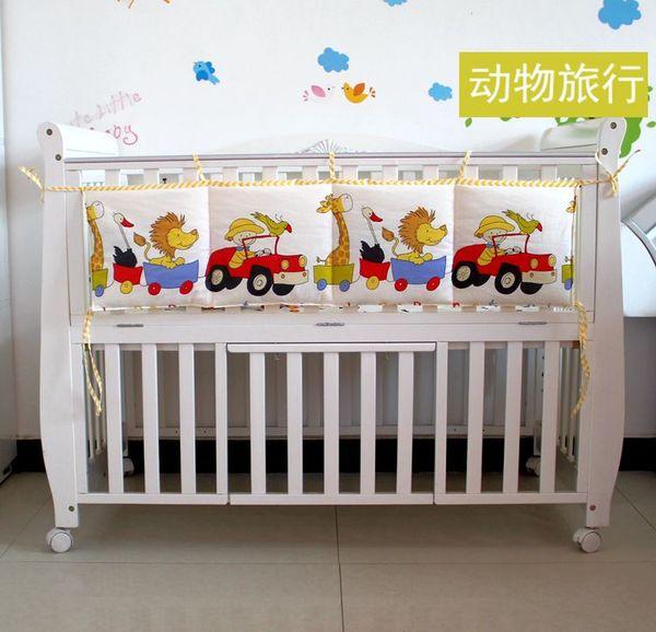 1PC bolsa de cuna 110 * 28cm 100% del lecho del bebé del algodón de la impresión de dibujos animados cuna organización juguetes de bolsillo bolsa de pañales del panal cuna