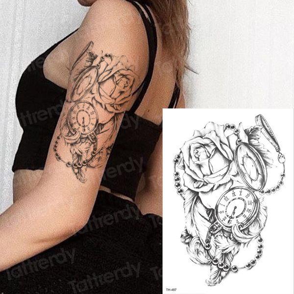 Acheter Tatouage Temporaire Rose Femmes Fille Autocollant De Tatouage  Horloge Noir 3D Body Art Manches De Bras Tatouage Transfert D\u0027eau Tatouage