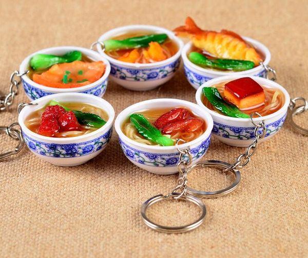New Simulation Food Portachiavi noodle Portachiavi creativo Cinese Blu e bianco porcellana Food Bowl Mini bag pendente # 17169