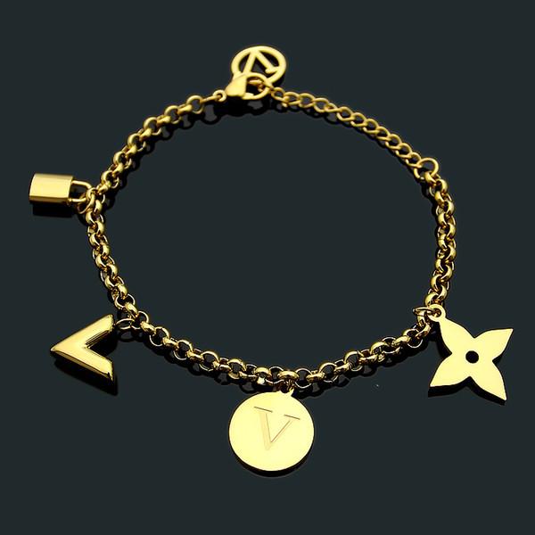Bracelet en acier inoxydable de haute qualité de marque de mode bracelet en argent or rose 18K pour les cadeaux de fête et les couples viennent avec le sac à poussière