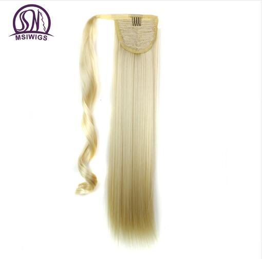 Long Wrap On Synthetic Straight Ponytails for Women Natural Clip In Hair Extension Hairpieces Blonde False Hair