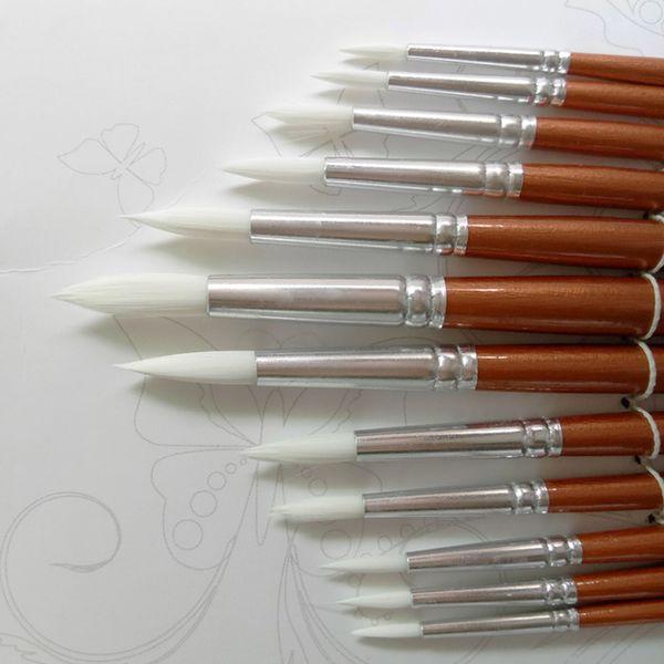24pcs / Lot Forme Ronde Nylon Cheveux Poignée En Bois Pinceau Set Outil Pour Art School Aquarelle Acrylique Peinture Fournitures