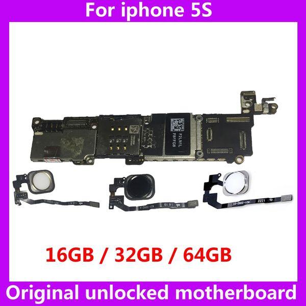 La placa base que funciona correctamente con ID táctil para el iphone 5S 16GB 32GB 64GB placa base desbloqueada instala la placa lógica del sistema IOS con chips