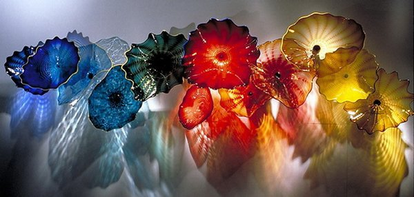 High Ceiling Hanging Wall Plates Chihuly Style Flower Blown Glass Wall Light Art Dome Ceiling Sculpture