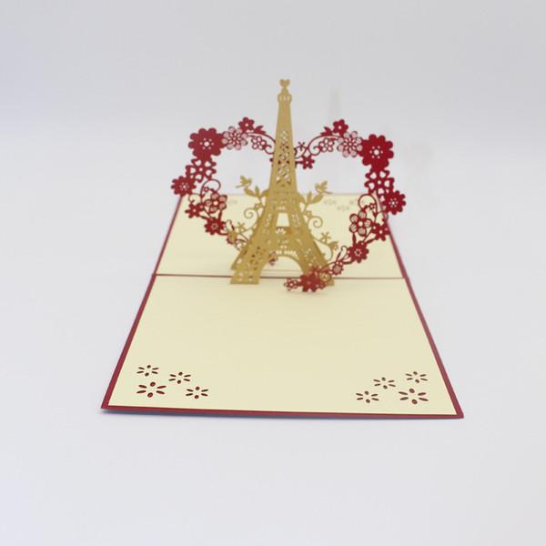 Compre Kirigami Origami 3d Torre Eiffel Con Coronas De Corazón Tarjetas De Felicitación Regalo De San Valentín Tarjeta De Invitación De Boda Con Corte