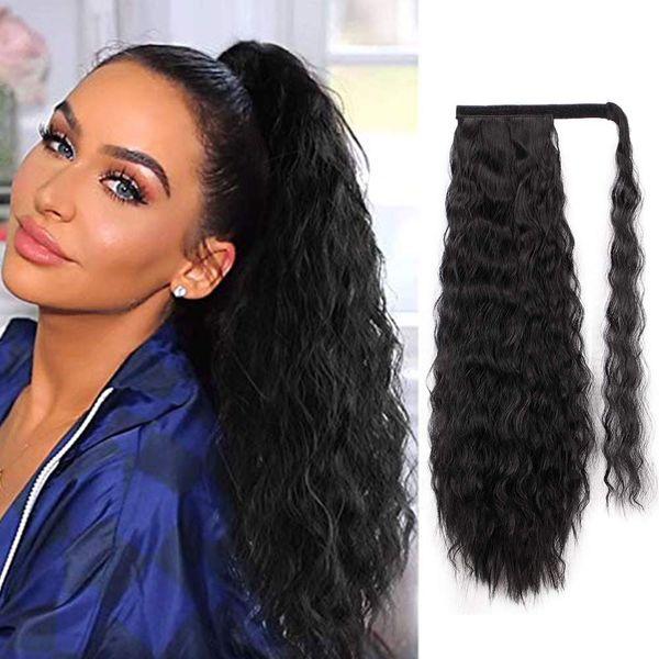 Divas 22 Inches Kinky Ponytail Extension for Women Straight Human Hair Yaki Straight Wrap Ponytail Extension Clip in Hairpiece Ponytail 160g