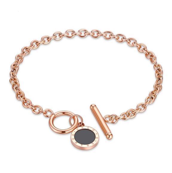 Designer de luxe bijoux femmes bracelets en acier inoxydable disque noir OT verrouiller rose or mode bracelet Chine bijoux en gros