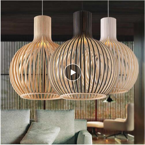 Moderne schwarze Holz Birdcage E27 Lampe Pendelleuchte norbic Home Deco Bambus Holz Pendelleuchte Weben