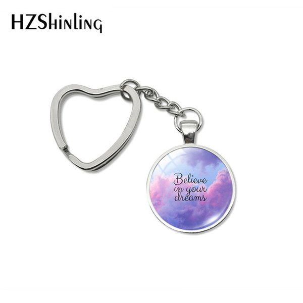 Fashion Hope Love Faith Believe Designs Heart Key Rings Movement Quote Words Handmade Women Men Bag Car Holder Keychains
