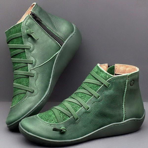 Adisputent mujeres nieve del invierno botas de cuero genuino del tobillo resorte plano mujer de los zapatos corto botas de piel de Brown mujeres agradables ata arranca
