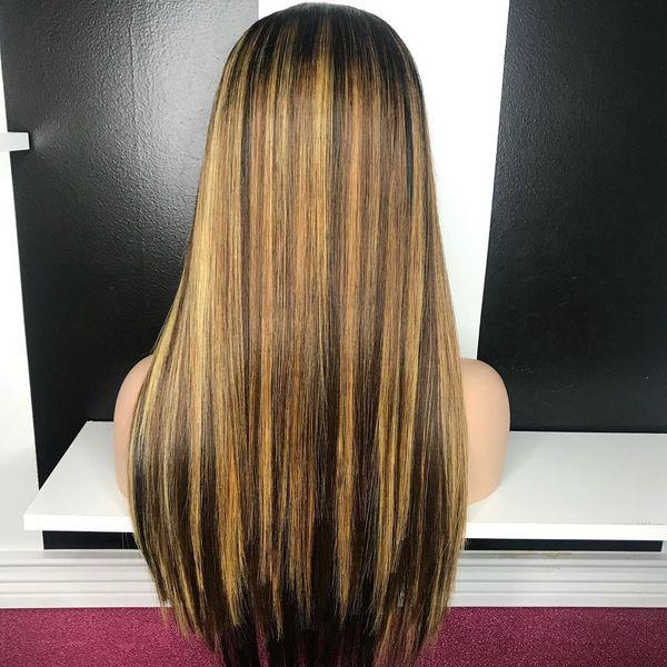 13x4 diritta Evidenziare biondo miele Ombre Colore parte anteriore del merletto umani parrucche capelli per le donne Remy brasiliano invisibile a pizzico Glueless