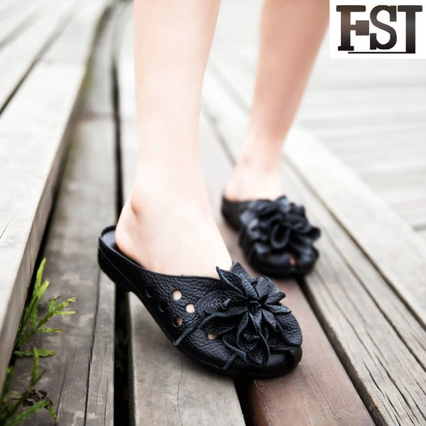 FSJ Slippers  Ladies Cow Leather Rubber Solid Summer Outside Flower Flat With Slides Fashion Mature Personality