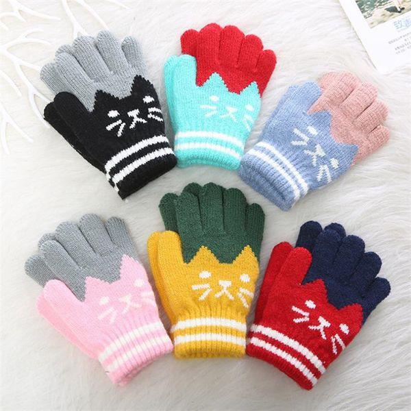 Fashion Winter Children Patchwork Color Gloves Knitted Glove Cut Cat Pattern gloves Kids Jacquard Five Fingers Gloves Mittens