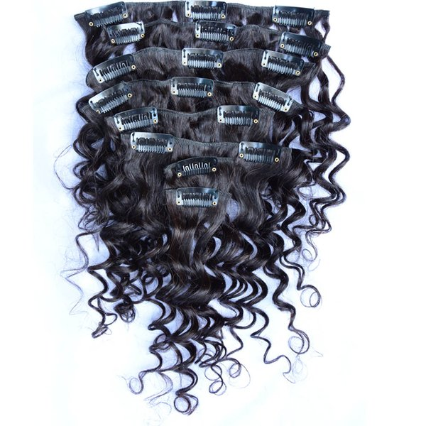 Estensioni dei capelli della clip cinese vergine riccia 8pcs / set profondo economico poco costoso a buon mercato 100% reale dei capelli umani dei prodotti naturali di colore in linea