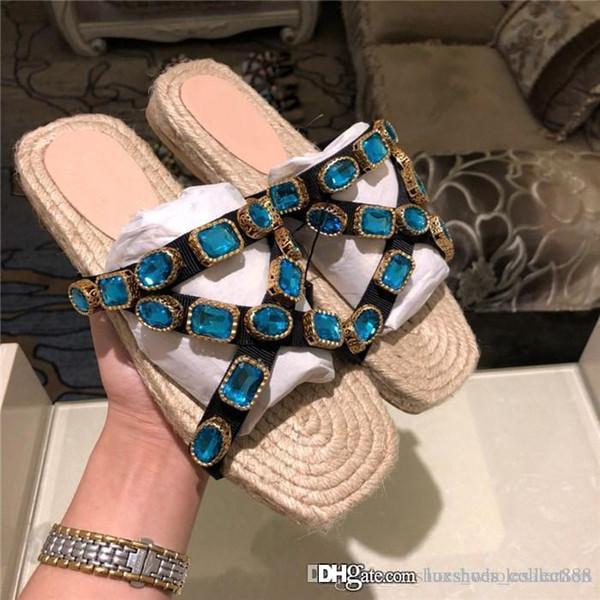 Femmes cordon plat avec chaussons Slides cristaux, FlashTrek Sneaker Chaussons en paille Wovening Sole Summer Beach pour dames Chaussures Taille 34-42