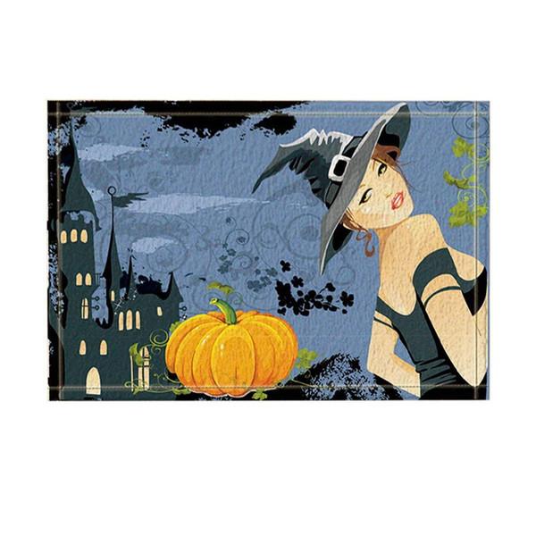 Halloween Decor Beautiful Witch and Pumpkin Bath Rugs Non-Slip Doormat Floor EntrywaysDoor Mat Bathroom Accessories