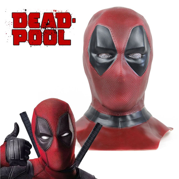 2019 Deadpool 2 Mask Deluxe Adult Deadpool Cosplay Full Face Mask Hood Helmet Marvel Superhero Halloween Props Costume Accessories