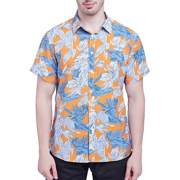 2019 New Fashion Men's Shirt New Short Sleeves Of Beach Wind Printing Fashion Cotton Short Sleeve Top camisa masculina
