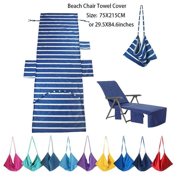 75X215 CM Uygun Depolama Cepli Plaj veya Havuz Şezlong Havlu Kapağı